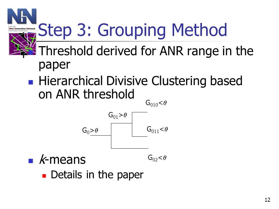 12 Step 3: Grouping Method Threshold derived for ANR range in the paper Hierarchical Divisive Clustering based on ANR threshold k-means Details in the