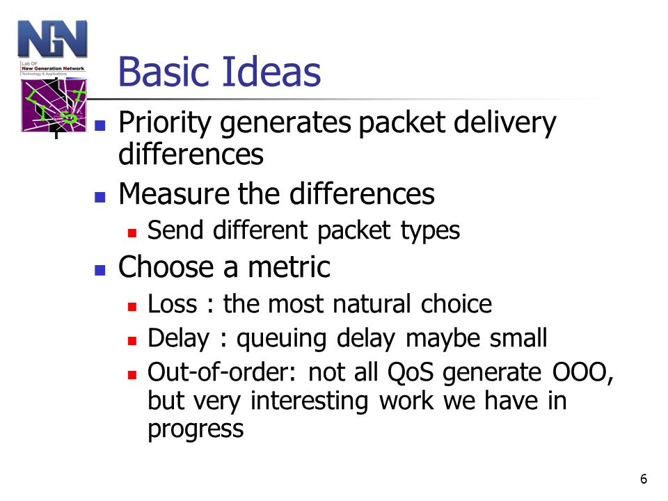 6 Basic Ideas Priority generates packet delivery differences Measure the differences Send different packet types Choose a metric Loss : the most natur