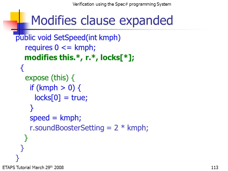 ETAPS Tutorial March 29 th 2008 Verification using the Spec# programming System 113 Modifies clause expanded public void SetSpeed(int kmph) requires 0 <= kmph; modifies this.*, r.*, locks[*]; { expose (this) { if (kmph > 0) { locks[0] = true; } speed = kmph; r.soundBoosterSetting = 2 * kmph; }
