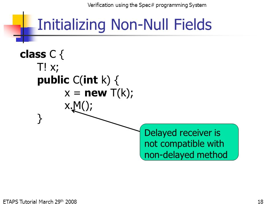 ETAPS Tutorial March 29 th 2008 Verification using the Spec# programming System Initializing Non-Null Fields class C { T.