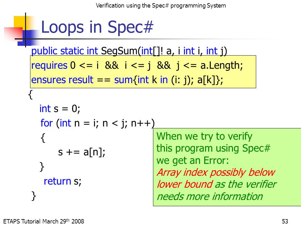 ETAPS Tutorial March 29 th 2008 Verification using the Spec# programming System 53 public static int SegSum(int[].