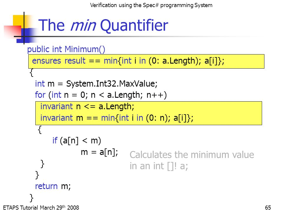ETAPS Tutorial March 29 th 2008 Verification using the Spec# programming System 65 The min Quantifier Calculates the minimum value in an int [].