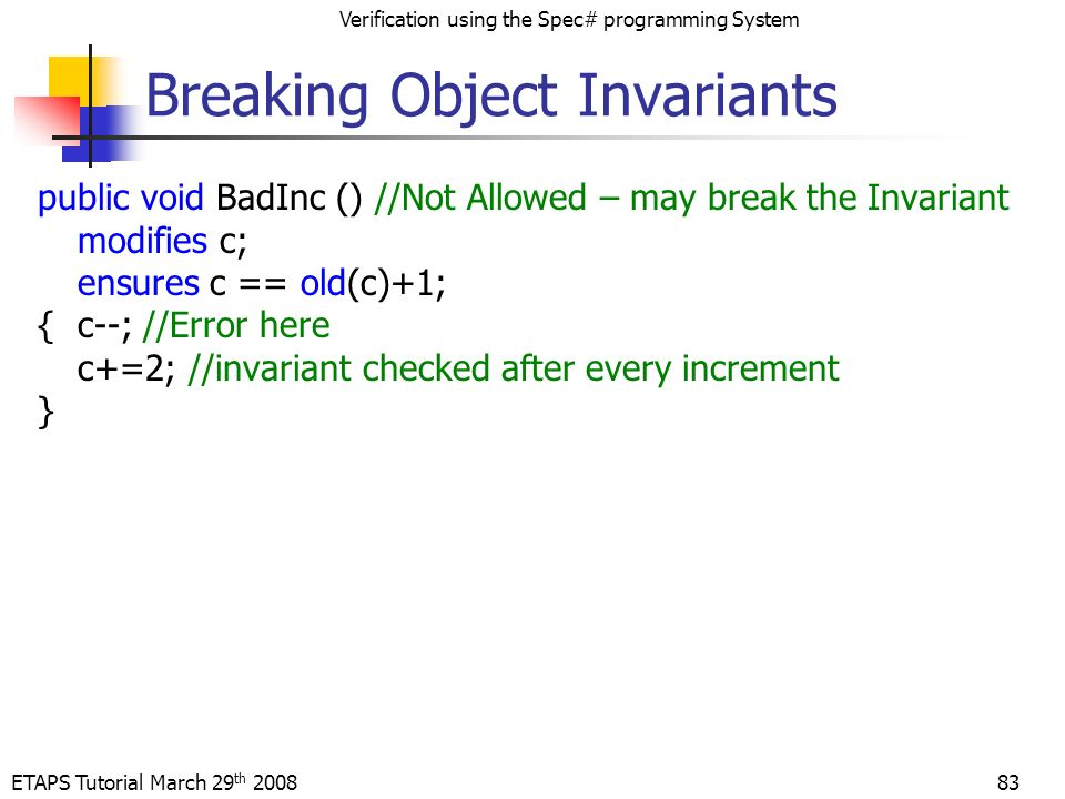 ETAPS Tutorial March 29 th 2008 Verification using the Spec# programming System 83 Breaking Object Invariants public void BadInc () //Not Allowed – may break the Invariant modifies c; ensures c == old(c)+1; {c--; //Error here c+=2; //invariant checked after every increment }