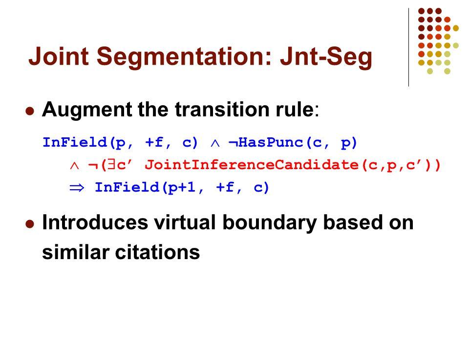 Joint Segmentation: Jnt-Seg Augment the transition rule: InField(p, +f, c) ¬HasPunc(c, p) ¬( c JointInferenceCandidate(c,p,c)) InField(p+1, +f, c) Int