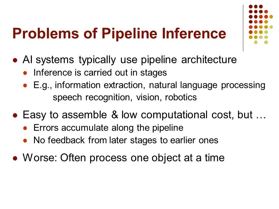 Problems of Pipeline Inference AI systems typically use pipeline architecture Inference is carried out in stages E.g., information extraction, natural