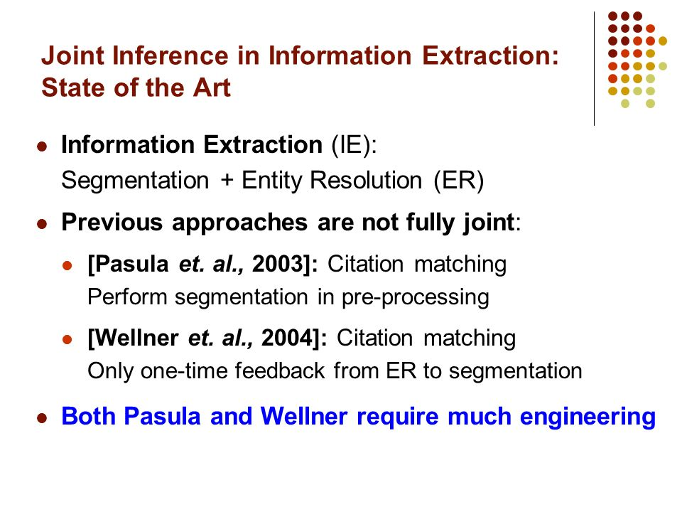 Joint Inference in Information Extraction: State of the Art Information Extraction (IE): Segmentation + Entity Resolution (ER) Previous approaches are