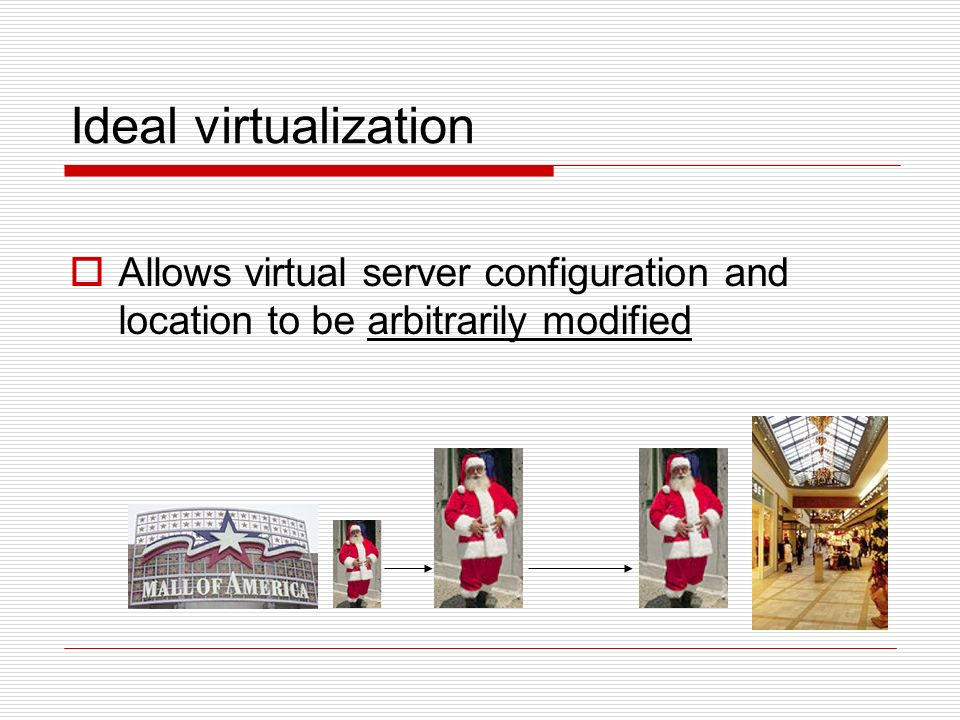 Ideal virtualization Allows virtual server configuration and location to be arbitrarily modified