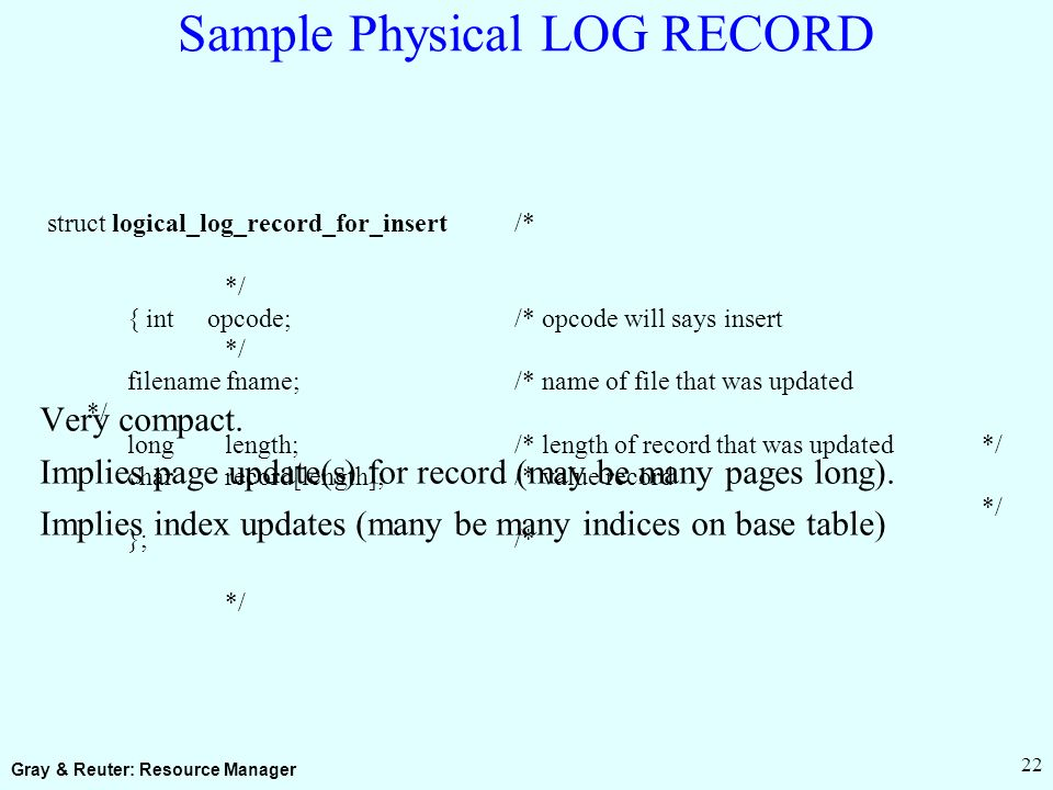 Gray & Reuter: Resource Manager 22 Sample Physical LOG RECORD Very compact.
