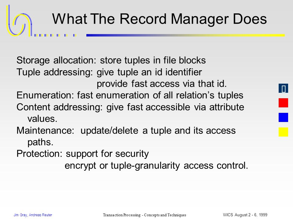 Jim Gray, Andreas Reuter Transaction Processing - Concepts and Techniques WICS August 2 - 6, 1999 What The Record Manager Does Storage allocation: sto