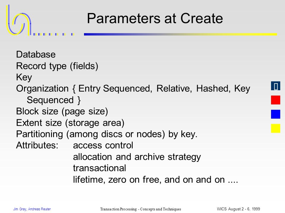 Jim Gray, Andreas Reuter Transaction Processing - Concepts and Techniques WICS August 2 - 6, 1999 Parameters at Create Database Record type (fields) K