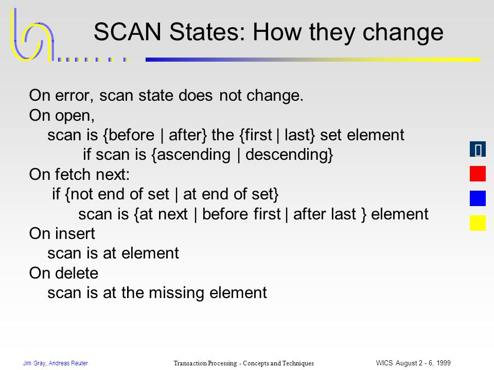 Jim Gray, Andreas Reuter Transaction Processing - Concepts and Techniques WICS August 2 - 6, 1999 SCAN States: How they change On error, scan state do