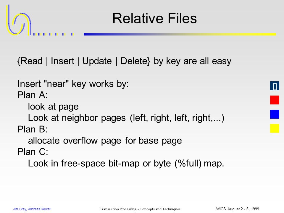 Jim Gray, Andreas Reuter Transaction Processing - Concepts and Techniques WICS August 2 - 6, 1999 Relative Files {Read | Insert | Update | Delete} by