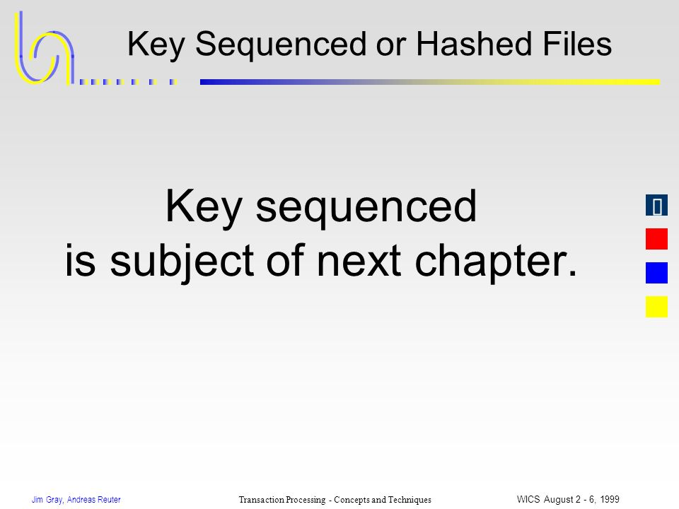 Jim Gray, Andreas Reuter Transaction Processing - Concepts and Techniques WICS August 2 - 6, 1999 Key Sequenced or Hashed Files Key sequenced is subje