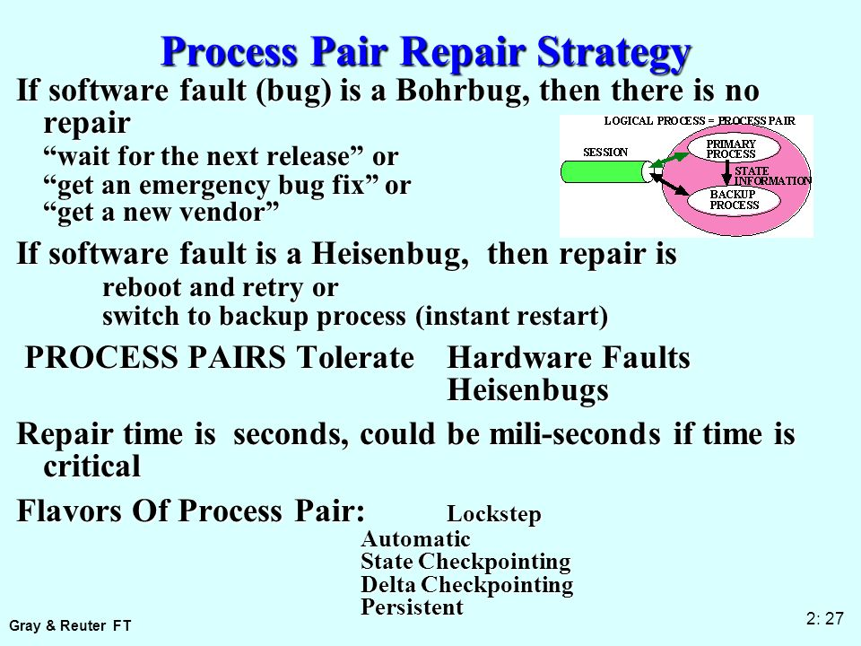 Gray & Reuter FT 2: 27 Process Pair Repair Strategy If software fault (bug) is a Bohrbug, then there is no repair wait for the next release or get an emergency bug fix or get a new vendor If software fault is a Heisenbug, then repair is reboot and retry or switch to backup process (instant restart) PROCESS PAIRS Tolerate Hardware Faults PROCESS PAIRS Tolerate Hardware FaultsHeisenbugs Repair time is seconds, could be mili-seconds if time is critical Flavors Of Process Pair: Lockstep Automatic State Checkpointing Delta Checkpointing Persistent