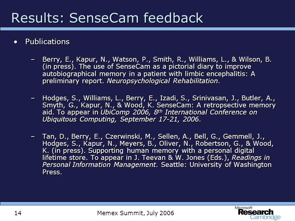 Memex Summit, July 200614 Results: SenseCam feedback PublicationsPublications –Berry, E., Kapur, N., Watson, P., Smith, R., Williams, L., & Wilson, B.