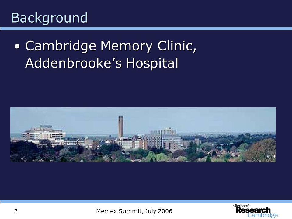 Memex Summit, July 20062 Background Cambridge Memory Clinic, Addenbrookes HospitalCambridge Memory Clinic, Addenbrookes Hospital