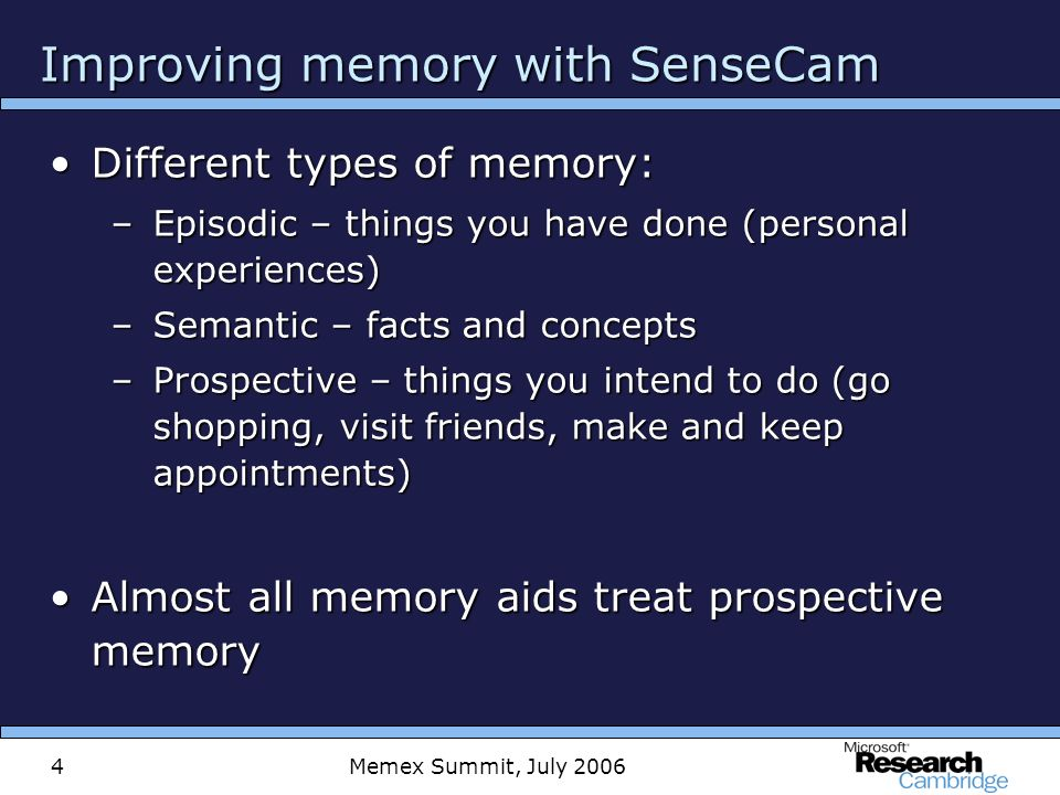 Memex Summit, July 20065 Improving memory with SenseCam Episodic memory critical to quality of lifeEpisodic memory critical to quality of life –Forms basis for semantic memories –Guides actions, creates bonds, builds self-concept SenseCam records experiencesSenseCam records experiences –Captures events from patients point of view –Without conscious thought or intrusion –Plays back quickly in simple-to-use, easy-to-view movie Subsequent viewing of image sequencesSubsequent viewing of image sequences –Cues recall & so consolidates storage of memories