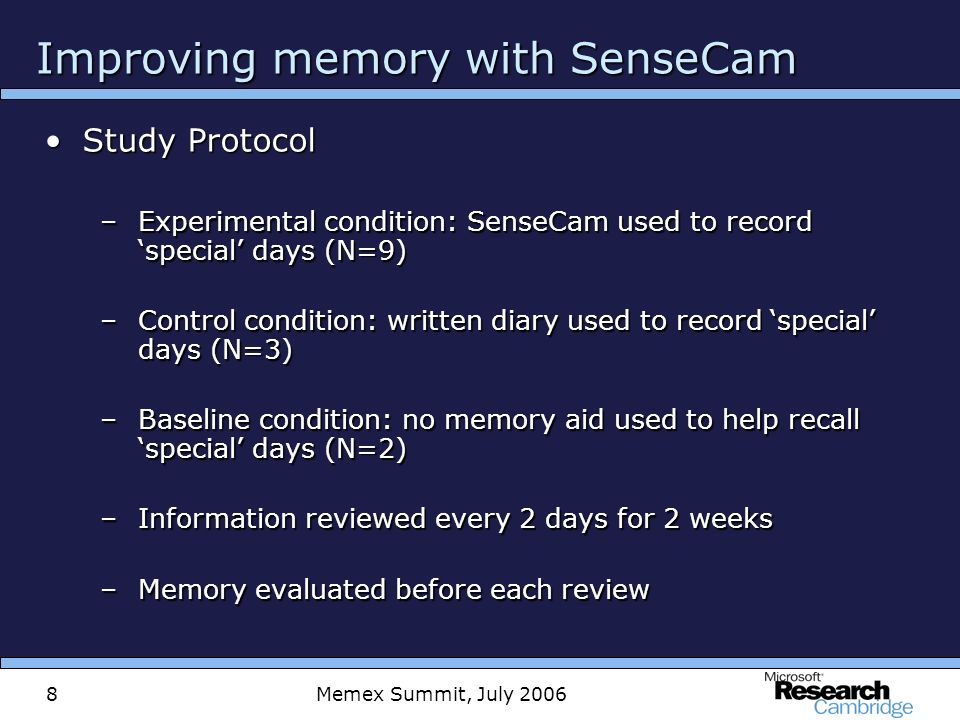 Memex Summit, July 20068 Improving memory with SenseCam Study ProtocolStudy Protocol –Experimental condition: SenseCam used to record special days (N=9) –Control condition: written diary used to record special days (N=3) –Baseline condition: no memory aid used to help recall special days (N=2) –Information reviewed every 2 days for 2 weeks –Memory evaluated before each review