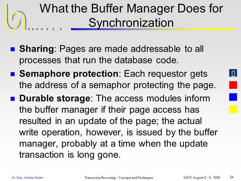Jim Gray, Andreas Reuter Transaction Processing - Concepts and Techniques WICS August 2 - 6, 1999 24 What the Buffer Manager Does for Synchronization