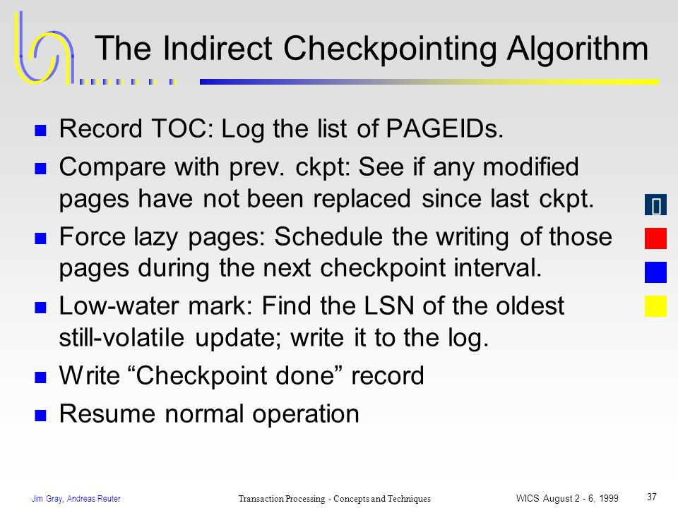 Jim Gray, Andreas Reuter Transaction Processing - Concepts and Techniques WICS August 2 - 6, 1999 37 The Indirect Checkpointing Algorithm n Record TOC