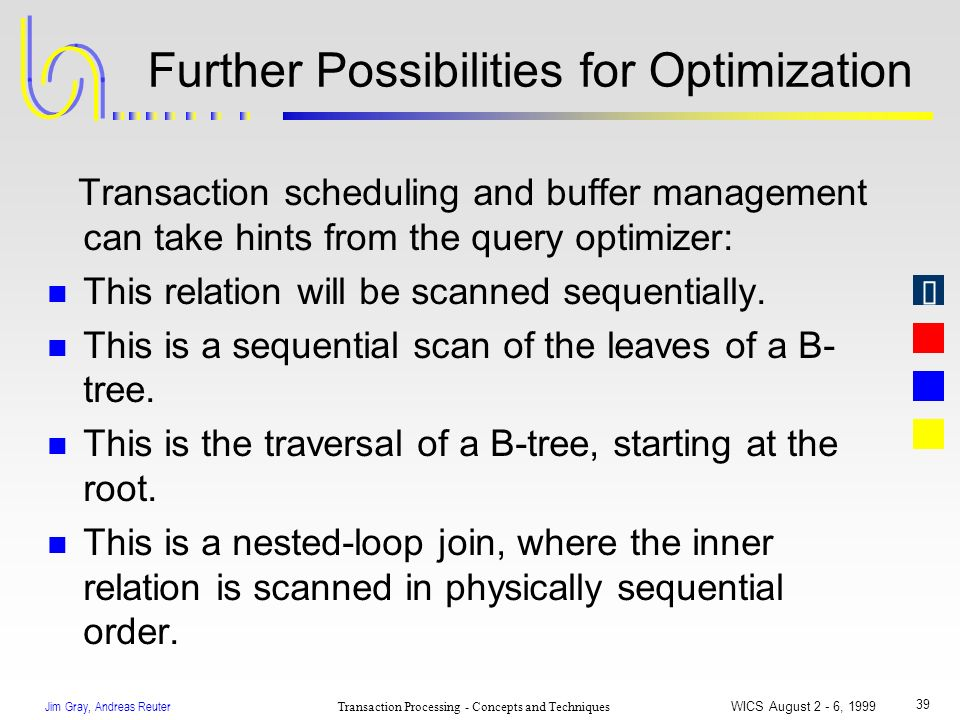 Jim Gray, Andreas Reuter Transaction Processing - Concepts and Techniques WICS August 2 - 6, 1999 39 Further Possibilities for Optimization Transactio