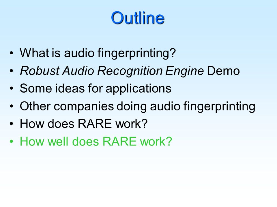 Outline What is audio fingerprinting.