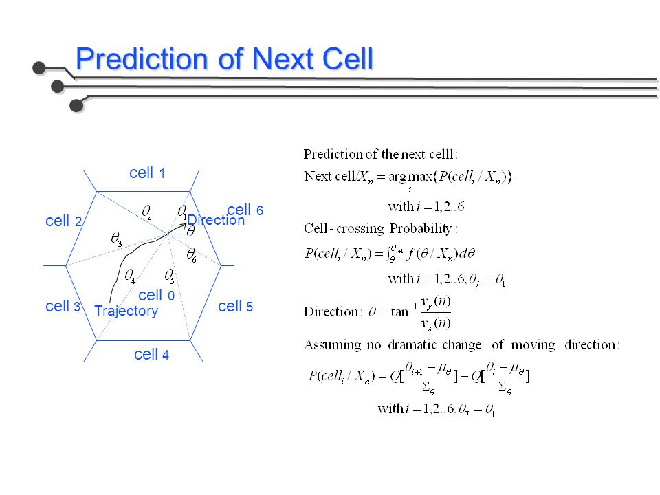 Prediction of Next Cell Trajectory Direction cell 0 cell 6 cell 1 cell 2 cell 3 cell 4 cell 5