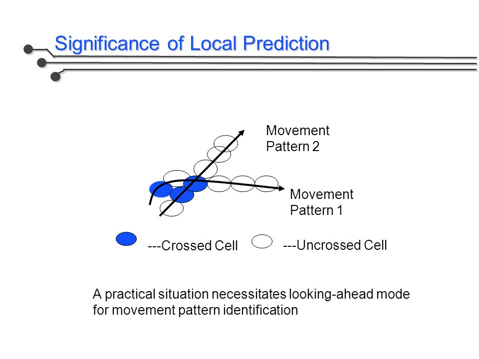 Significance of Local Prediction Movement Pattern 2 Movement Pattern 1 ---Crossed Cell ---Uncrossed Cell A practical situation necessitates looking-ahead mode for movement pattern identification