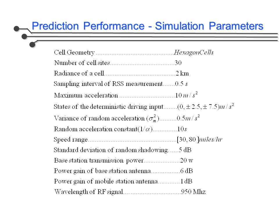 Prediction Performance - Simulation Parameters