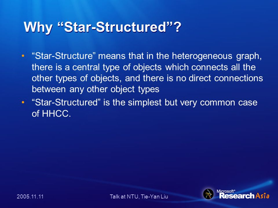 2005.11.11Talk at NTU, Tie-Yan Liu Why Star-Structured? Star-Structure means that in the heterogeneous graph, there is a central type of objects which