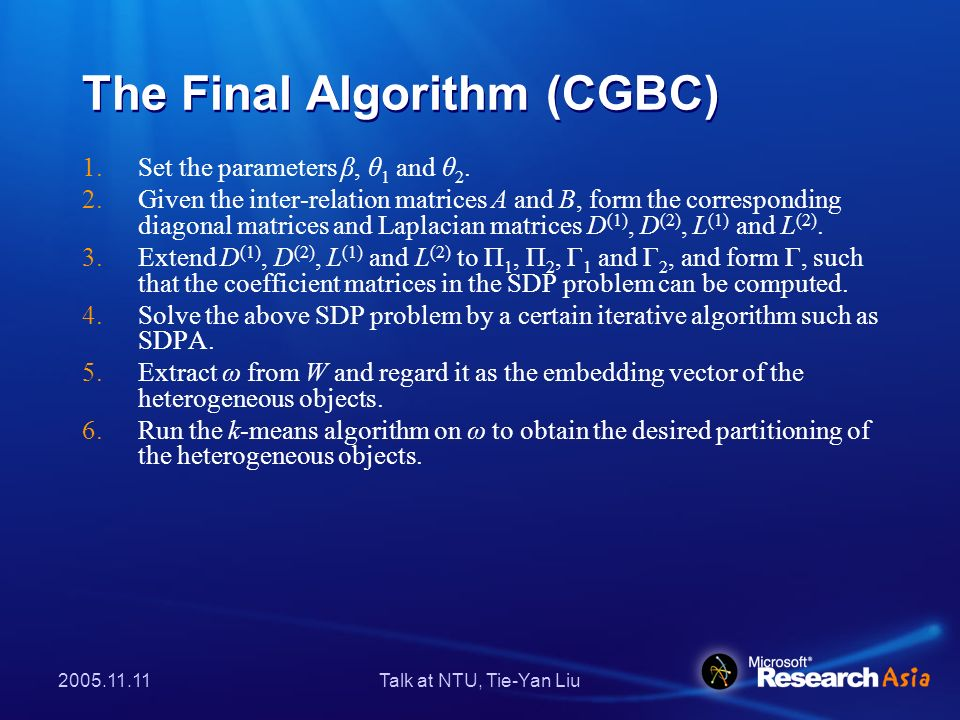 2005.11.11Talk at NTU, Tie-Yan Liu The Final Algorithm (CGBC) 1.Set the parameters β, θ 1 and θ 2. 2.Given the inter-relation matrices A and B, form t