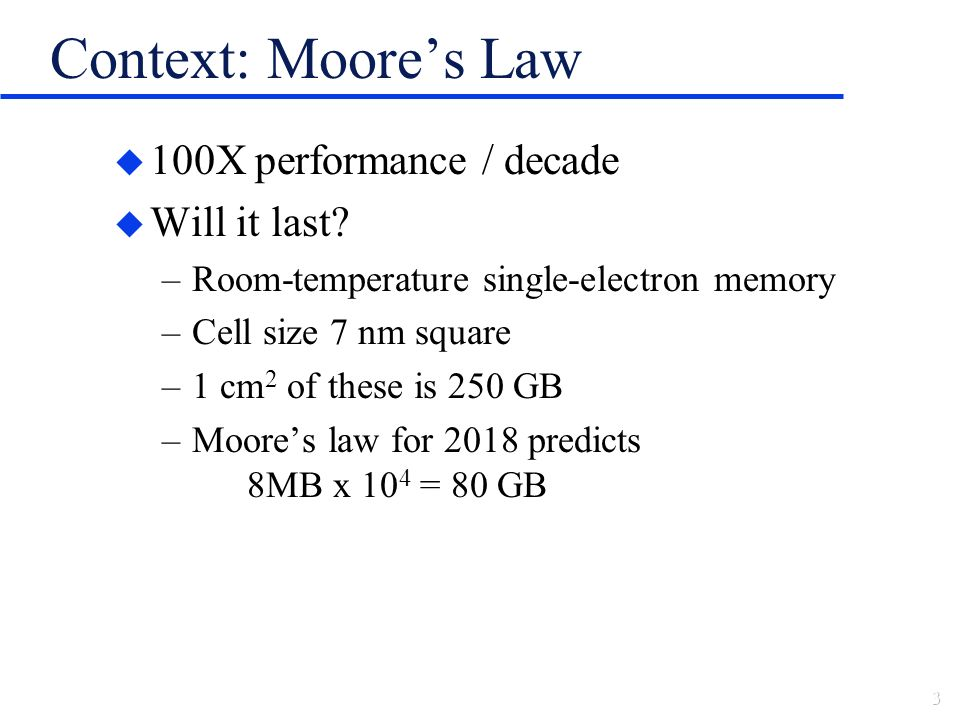 Context: Moores Law u 100X performance / decade u Will it last.