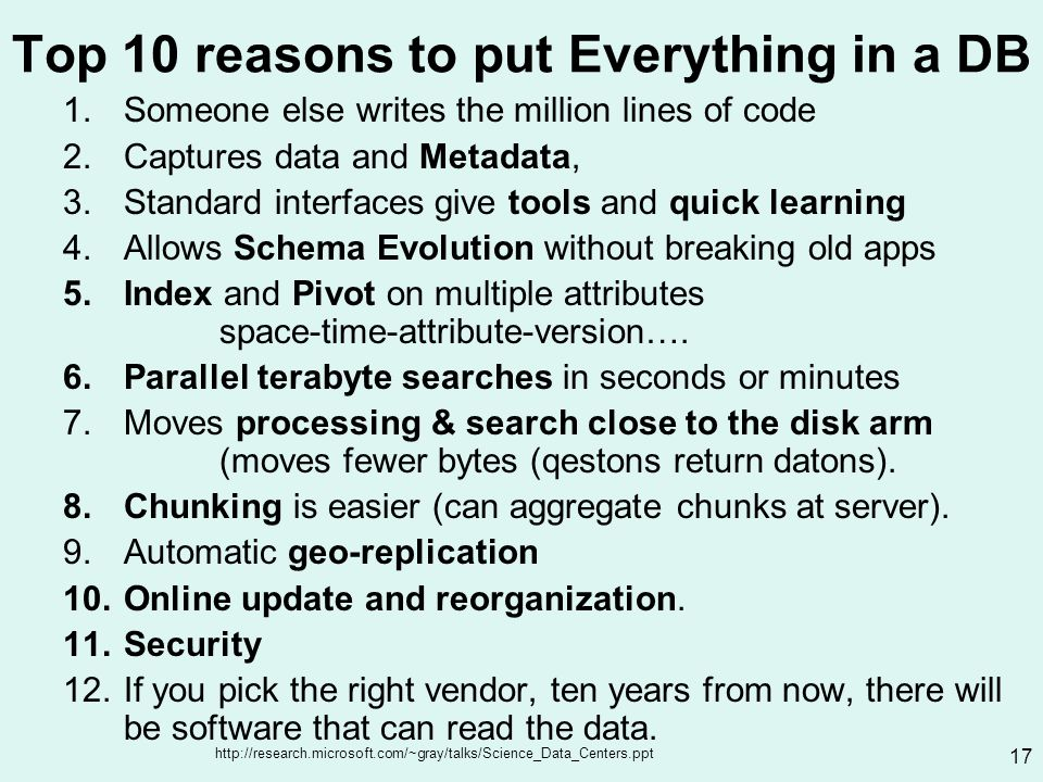 http://research.microsoft.com/~gray/talks/Science_Data_Centers.ppt 17 Top 10 reasons to put Everything in a DB 1.Someone else writes the million lines of code 2.Captures data and Metadata, 3.Standard interfaces give tools and quick learning 4.Allows Schema Evolution without breaking old apps 5.Index and Pivot on multiple attributes space-time-attribute-version….