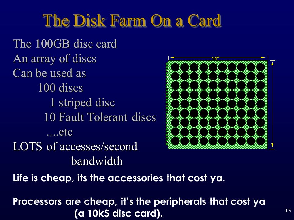 15 The Disk Farm On a Card The 100GB disc card An array of discs Can be used as 100 discs 100 discs 1 striped disc 1 striped disc 10 Fault Tolerant discs 10 Fault Tolerant discs....etc....etc LOTS of accesses/second bandwidth bandwidth 14 Life is cheap, its the accessories that cost ya.