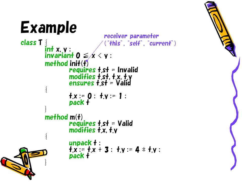 Example class T { int x, y ; invariant 0 x < y ; method init(t) requires t.st = Invalid modifies t.st, t.x, t.y ensures t.st = Valid { t.x := 0 ; t.y