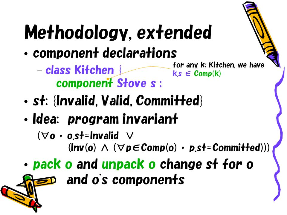 Methodology, extended component declarations – class Kitchen { component Stove s ; st: {Invalid, Valid, Committed} Idea: program invariant (o o.st=Inv