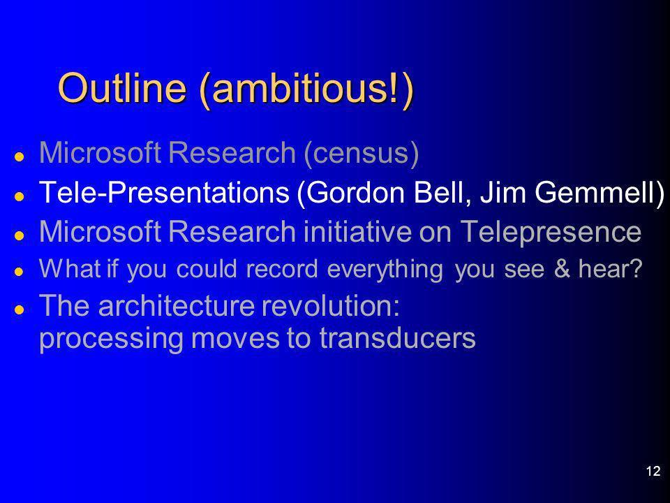 12 Outline (ambitious!) l Microsoft Research (census) l Tele-Presentations (Gordon Bell, Jim Gemmell) l Microsoft Research initiative on Telepresence