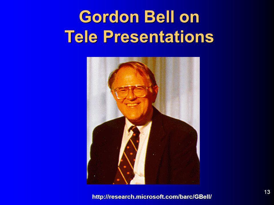 13 Gordon Bell on Tele Presentations http://research.microsoft.com/barc/GBell/