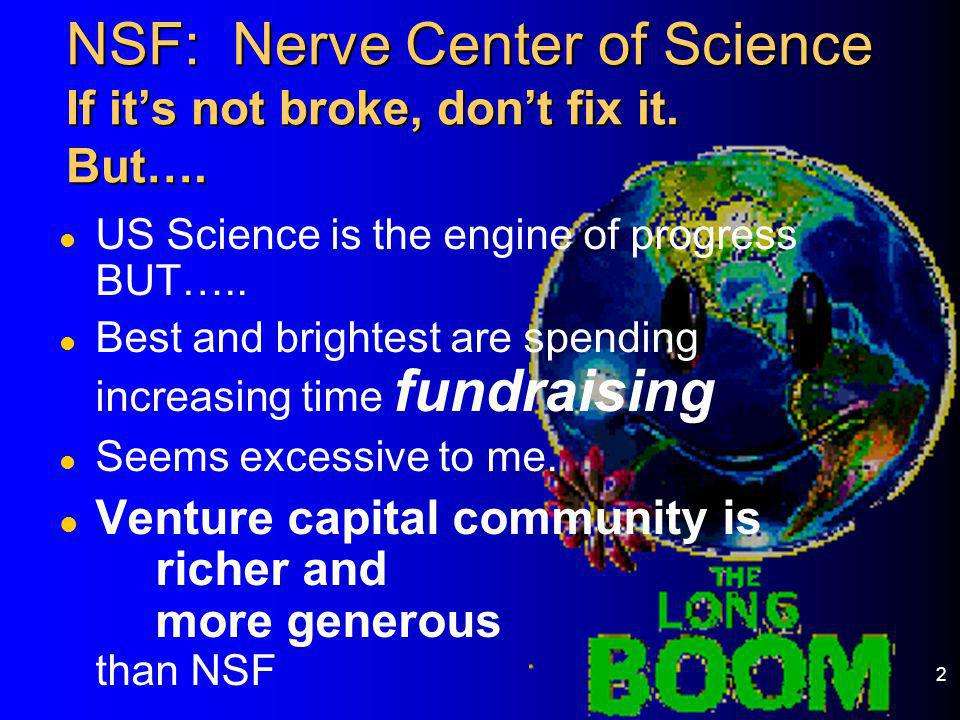 2 NSF: Nerve Center of Science If its not broke, dont fix it. But…. l US Science is the engine of progress BUT….. l Best and brightest are spending in