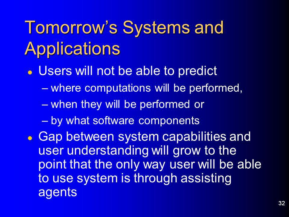 32 Tomorrows Systems and Applications l Users will not be able to predict –where computations will be performed, –when they will be performed or –by w