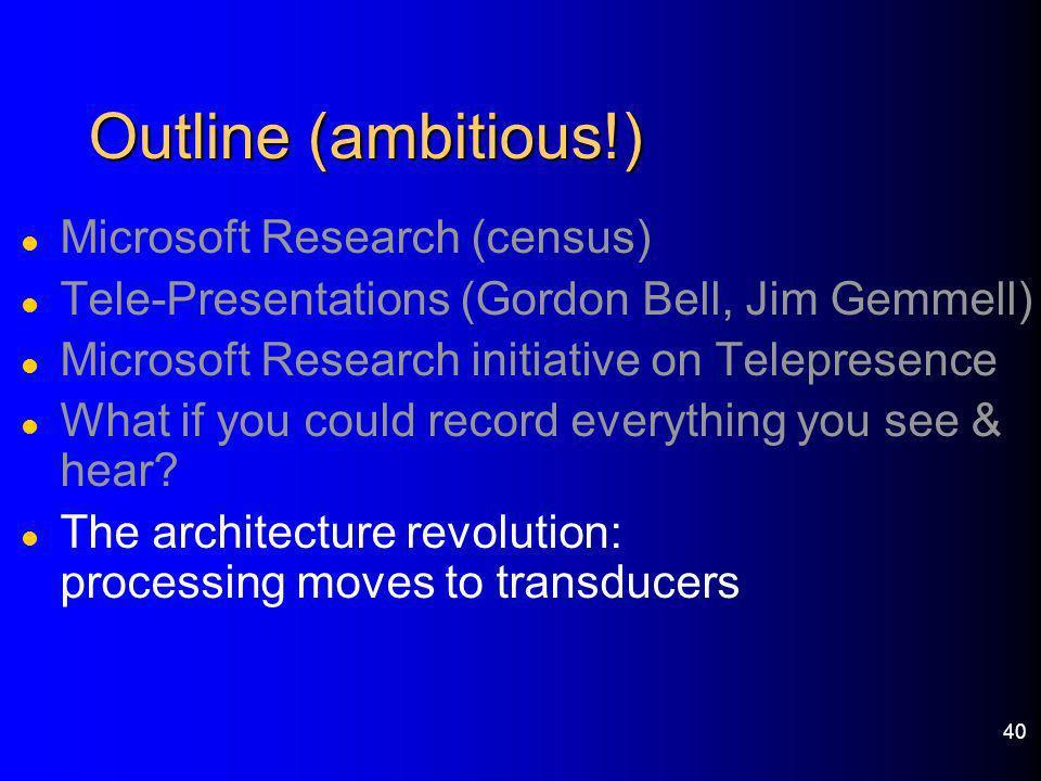 40 Outline (ambitious!) l Microsoft Research (census) l Tele-Presentations (Gordon Bell, Jim Gemmell) l Microsoft Research initiative on Telepresence