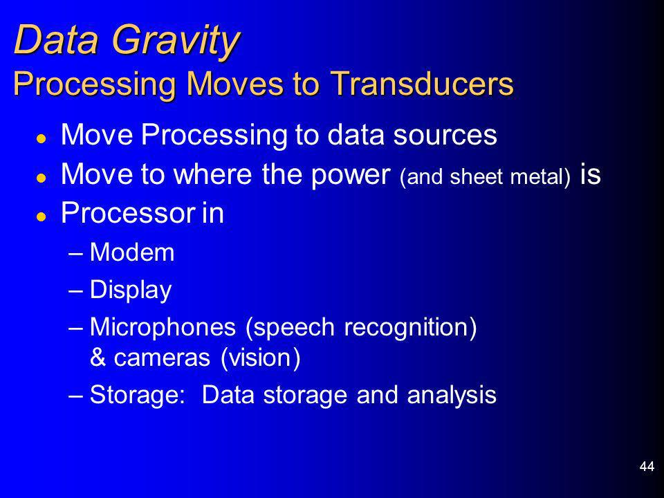 44 Data Gravity Processing Moves to Transducers l Move Processing to data sources l Move to where the power (and sheet metal) is l Processor in –Modem
