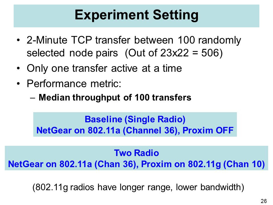26 Experiment Setting 2-Minute TCP transfer between 100 randomly selected node pairs (Out of 23x22 = 506) Only one transfer active at a time Performan