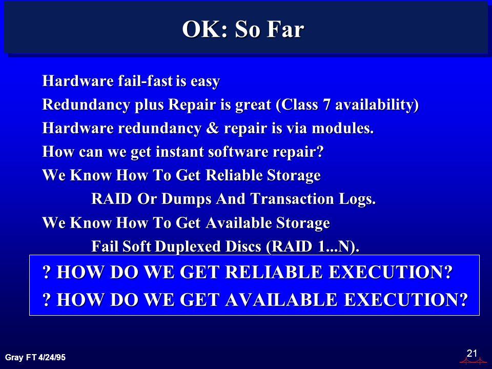Gray FT 4/24/95 21 OK: So Far Hardware fail-fast is easy Redundancy plus Repair is great (Class 7 availability) Hardware redundancy & repair is via modules.