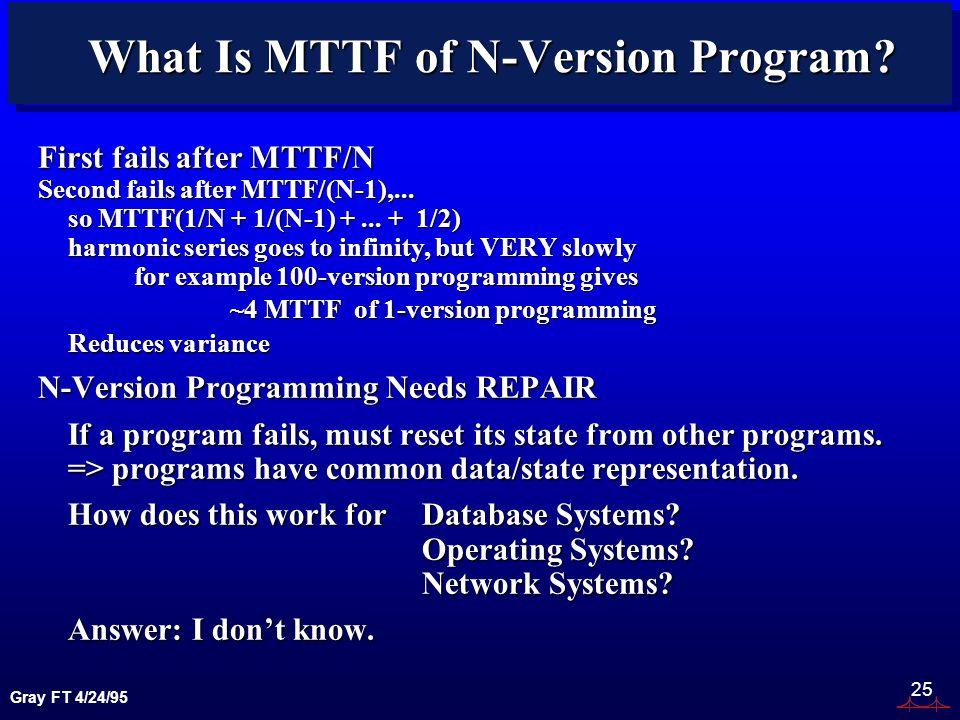 Gray FT 4/24/95 25 What Is MTTF of N-Version Program.