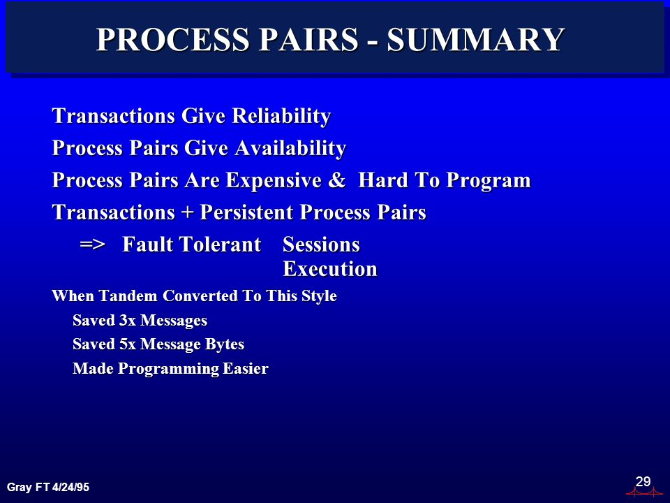 Gray FT 4/24/95 29 PROCESS PAIRS - SUMMARY Transactions Give Reliability Process Pairs Give Availability Process Pairs Are Expensive & Hard To Program Transactions + Persistent Process Pairs => Fault TolerantSessions Execution When Tandem Converted To This Style Saved 3x Messages Saved 5x Message Bytes Made Programming Easier