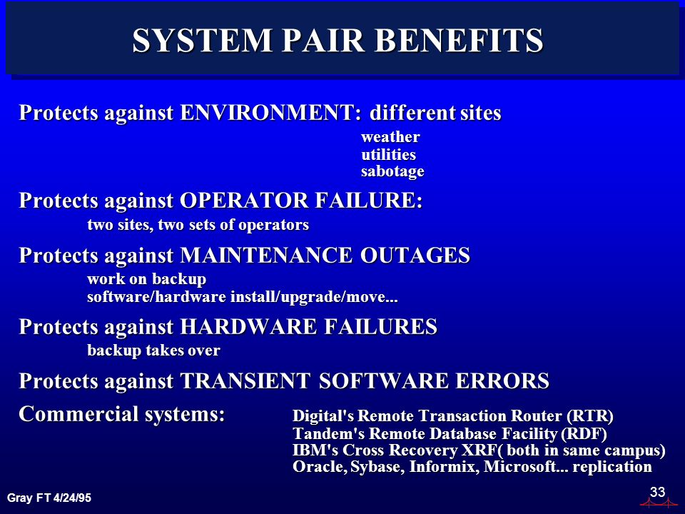 Gray FT 4/24/95 33 SYSTEM PAIR BENEFITS Protects against ENVIRONMENT: different sites weatherutilitiessabotage Protects against OPERATOR FAILURE: two