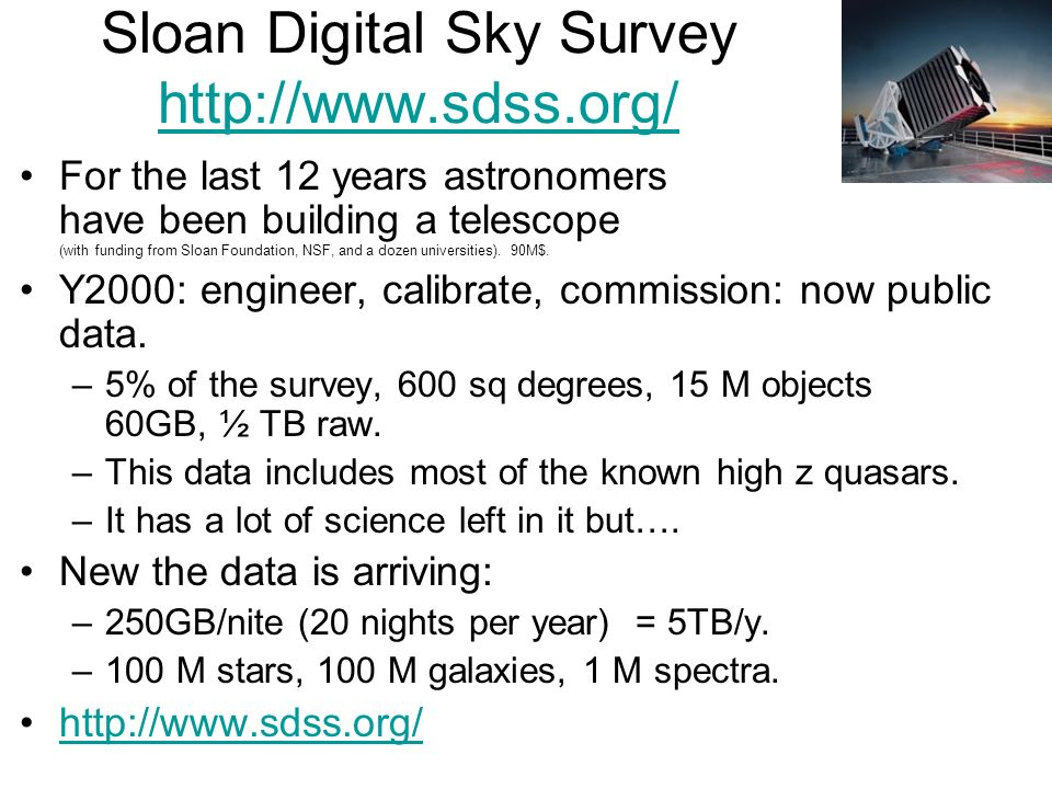 Sloan Digital Sky Survey http://www.sdss.org/ http://www.sdss.org/ For the last 12 years astronomers have been building a telescope (with funding from Sloan Foundation, NSF, and a dozen universities).
