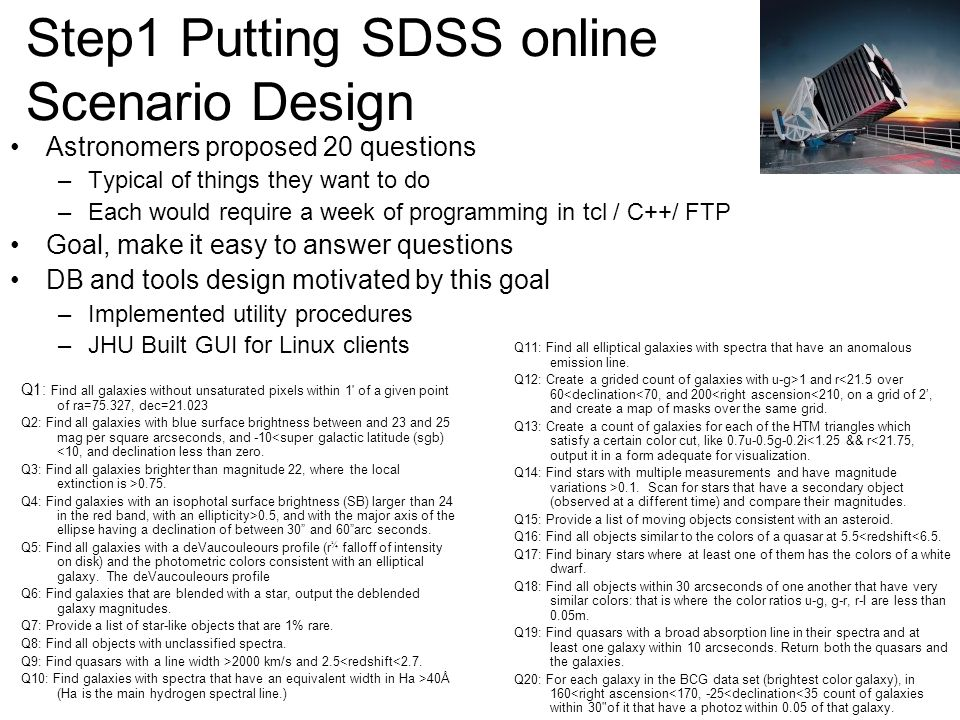 Step1 Putting SDSS online Scenario Design Astronomers proposed 20 questions –Typical of things they want to do –Each would require a week of programming in tcl / C++/ FTP Goal, make it easy to answer questions DB and tools design motivated by this goal –Implemented utility procedures –JHU Built GUI for Linux clients Q11: Find all elliptical galaxies with spectra that have an anomalous emission line.