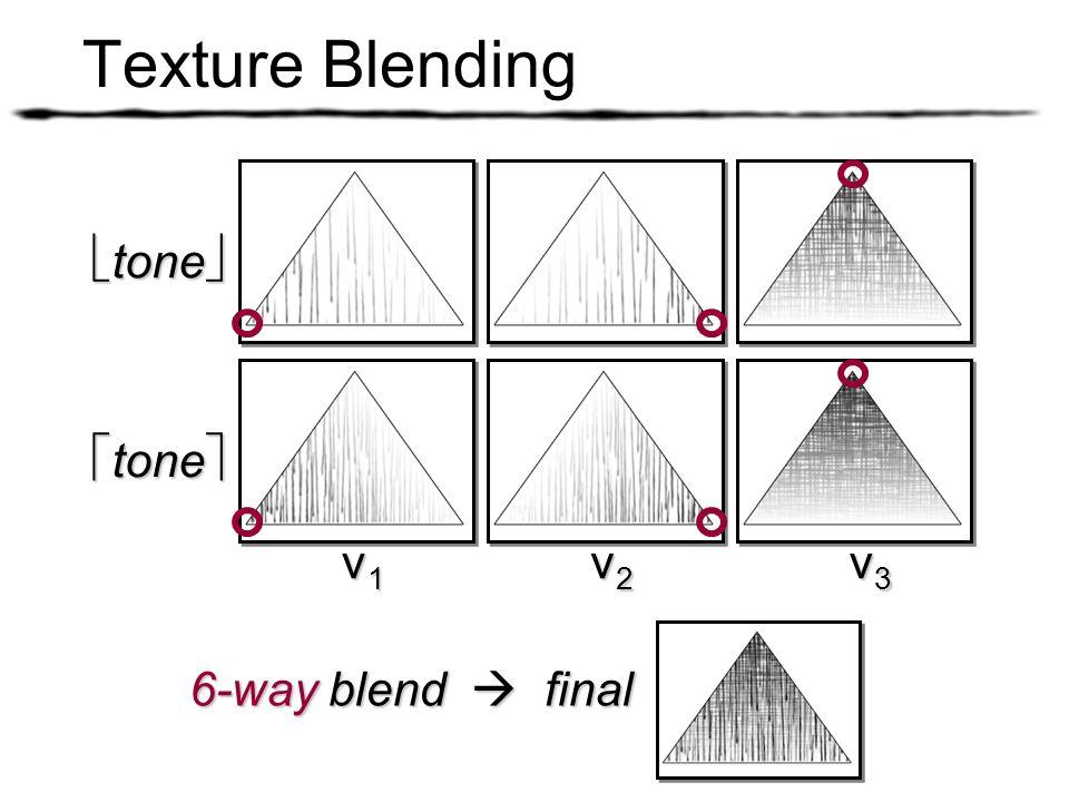 tone tone v1v1v1v1 v2v2v2v2 v3v3v3v3 6-way blend final Texture Blending